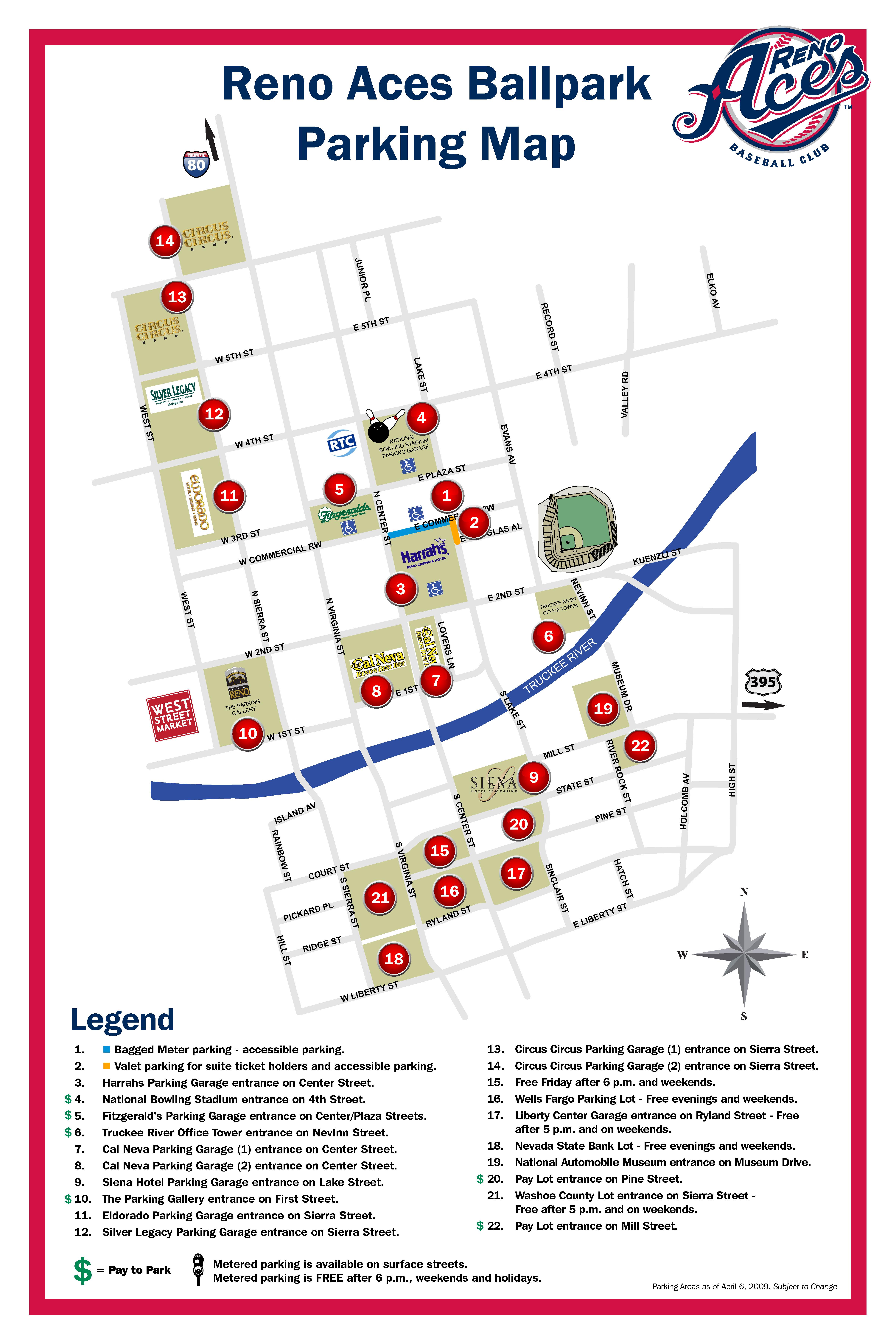 Reno Casinos Map Reno Aces Parking Map Reno Casinos Map